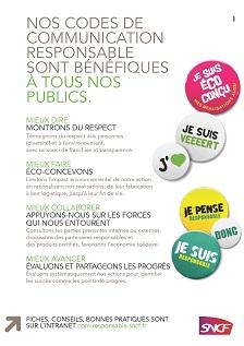 En Avril 2011 La SNCF A Lance Sa Demarche De Communication Responsable Aupres Des Reseaux Communicants Un Groupe Travail Interne Elabore Les Codes