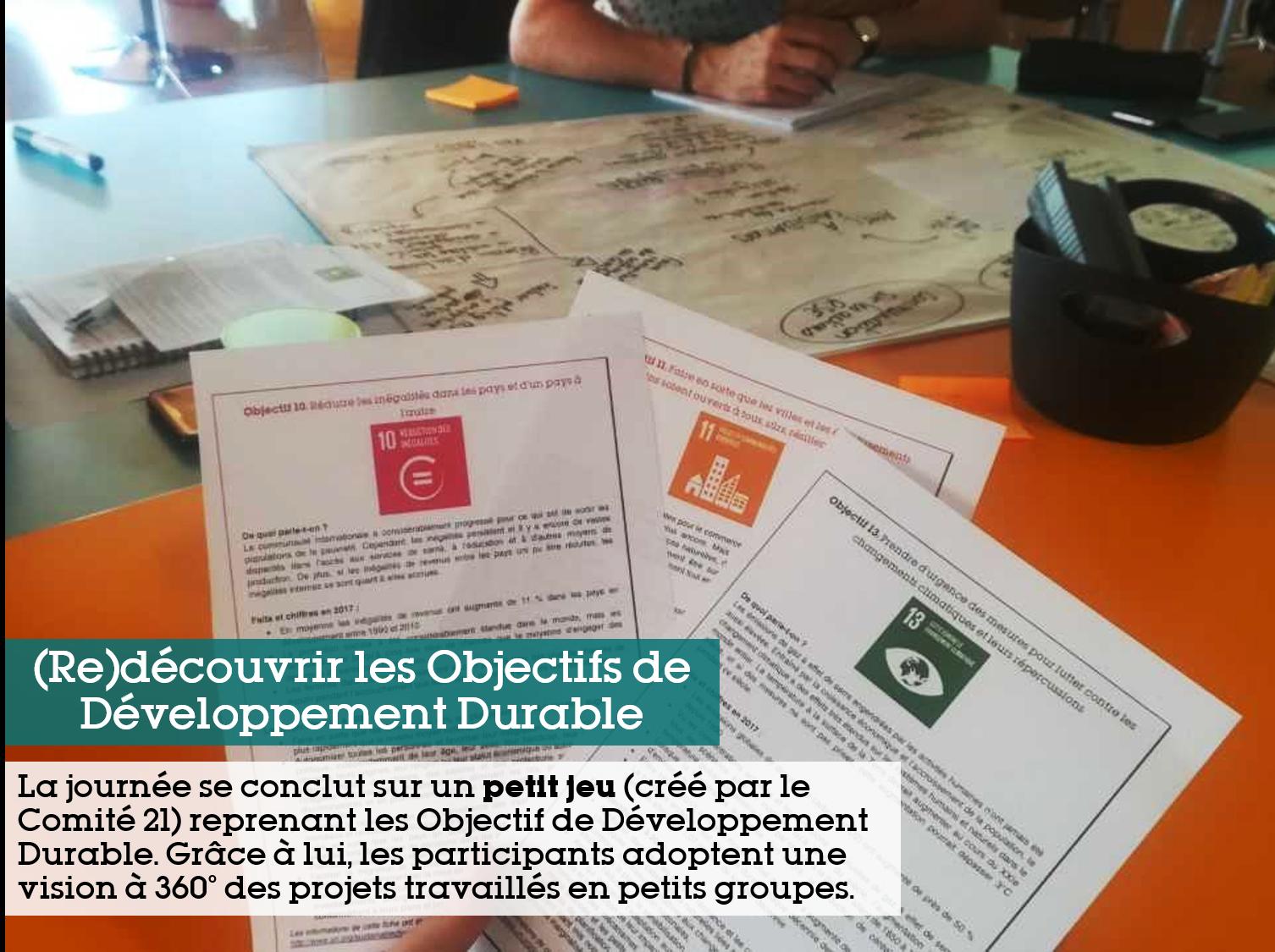 (Re)découvrir les objectifs de développement durable : La journée de sonclut sur un petit jeu (Créé par le Comité 21) reprenant les objectifs de développement durable. Grâce à lui, les participants adoptent une vision à 360° des projets travaillés en petits groupes
